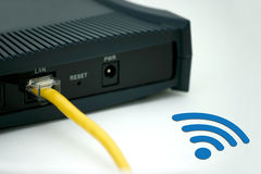 WIFI et réseau de réseau local Images libres de droits
