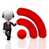 WiFi för businessman/för tecken för tecknad film 3D begrepp Stock Illustrationer