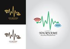 Wifi för hjärtatakt logo vektor illustrationer