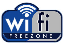 Wifi free zone. With small caps coffee on a white background