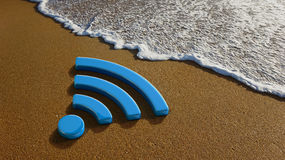 WiFi 4G Internet on the Beach. Concept for a Wifi Service in the Beach Stock Images