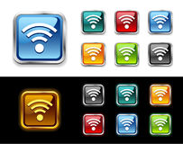 WiFi glossy vector icon and button. Royalty Free Stock Photos