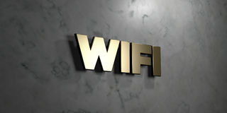 Wifi - Gold sign mounted on glossy marble wall  - 3D rendered royalty free stock illustration. This image can be used for an online website banner ad or a Stock Photos