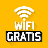 Wifi Gratis, Spanish translation: Free Wifi, vector zone sign icon Stock Photo