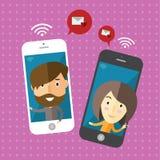 Wifi gratuit avec l'amie Photos stock