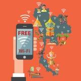 Wifi gratuit avec la carte de la Thaïlande Images libres de droits