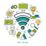 Wifi Hot Spot - Line Art Concept Stock Photos