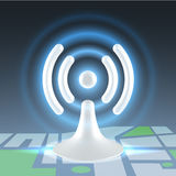 Wifi hot spot over map. White hi tech glossy plastic wifi hot spot shining icon over block map Stock Photos