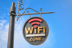 WiFi hotspot sign pole Royalty Free Stock Photography