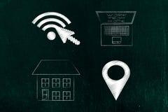 Wifi i gps lokaci ikony obok domu i laptopu z captio Obraz Royalty Free