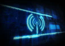 Wifi icon on blue digital background. Stock Images