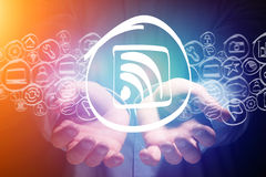 Wifi icon going out of hands - technology concept Stock Photography