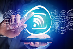Wifi icon going out a smartphone interface - technology concept Royalty Free Stock Photos