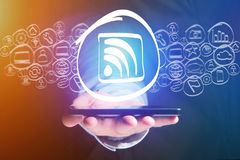 Wifi icon going out a smartphone interface - technology concept Royalty Free Stock Photo