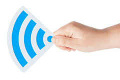 WiFi icon with hand Royalty Free Stock Photos