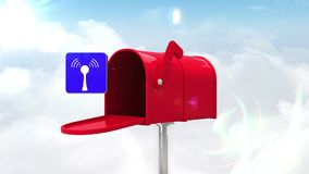 Wifi icon in the mailbox on blue sky background stock video footage