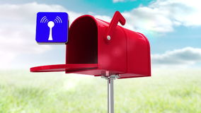 Wifi icon in the mailbox on blue sky background stock footage
