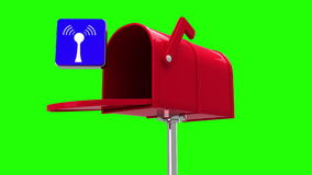 Wifi icon in the mailbox on green background stock footage