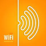 WiFi icon on orange background. Vector. Illustration for podcast design. Free Wi-Fi available here. Wi Fi symbol line paper. Internet concept. Modern style Stock Image