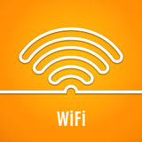 WiFi icon on orange background. Vector. Illustration for podcast design. Free Wi-Fi available here. Wi Fi symbol line paper. Internet concept. Modern style Stock Photos
