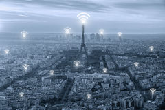 Wifi icon and Paris city with network connection concept, Paris Royalty Free Stock Images
