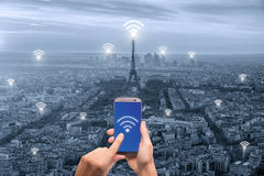 Wifi icon and Paris city with network connection concept, Paris Stock Photo