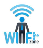 Wifi icon with shadow. free wi-fi zone and a man symbol on white Royalty Free Stock Image