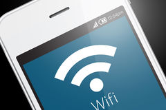 Wifi icon on smartphone. stock photo