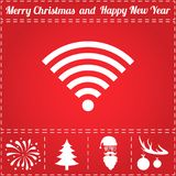 Wifi Icon Vector. And bonus symbol for New Year - Santa Claus, Christmas Tree, Firework, Balls on deer antlers Royalty Free Stock Image
