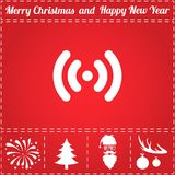 Wifi Icon Vector. And bonus symbol for New Year - Santa Claus, Christmas Tree, Firework, Balls on deer antlers Royalty Free Stock Photography