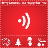 WiFi Icon Vector. And bonus symbol for New Year - Santa Claus, Christmas Tree, Firework, Balls on deer antlers Royalty Free Stock Photo
