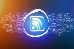Wifi-Ikone mischte in einer Wolke der Ikone lokalisiert auf einem Hintergrund Stockfotografie