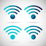 WiFi ikony Bezprzewodowego połączenie z internetem Płaski projekt Zdjęcia Royalty Free