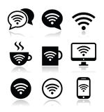Wifi, internet cafe, wifi  icons set Stock Images