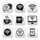 Wifi, Internet-koffie, geplaatste wifiknopen Royalty-vrije Stock Foto's