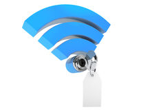 WiFi internet security concept. 3d symbol wifi and key with blan Stock Images