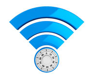 WiFi internet security concept. 3d symbol wifi with Padlock Stock Images