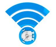WiFi-Internet-Sicherheitskonzept Symbol 3d wifi mit Bank-Safe-Tür Stockbilder