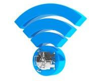 WiFi-Internet-Sicherheitskonzept Symbol 3d wifi mit Bank-Safe-Tür Lizenzfreie Stockfotografie