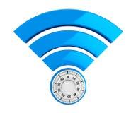 WiFi-Internet-Sicherheitskonzept Symbol 3d wifi mit Vorhängeschloß vektor abbildung