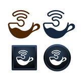 Wifi kaffesymboler planlägger, minsta isolerade vektorillustrationer Royaltyfri Bild
