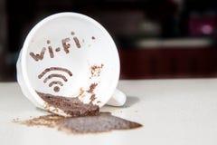 WiFi in koffiekop Royalty-vrije Stock Foto