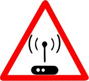 Wifi-Krisenherdikone Drahtloses Krisenherdinternet-Zeichen Kommunikationstechnologiesymbol Rotes KreisVerkehrsschild lokalisiert  Lizenzfreie Stockbilder
