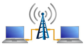 Wifi laptop connection concept illustration Royalty Free Stock Photos