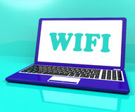 Wifi Laptop Shows Hotspot Wi-fi Access Or Connection Stock Photo