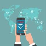 Wifi libero con la mappa di mondo Fotografie Stock