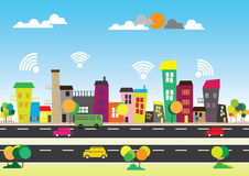 Wifi libero nella città Fotografia Stock