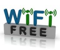 Wifi libre muestra la conexión a internet y apuroses móviles Imagen de archivo