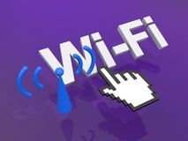 WiFi link. An illustration of a Wi-Fi link and a hand shaped cursor on top Royalty Free Stock Photography