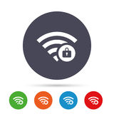 Wifi locked sign. Pass Wi-fi symbol. Wireless. Wifi locked sign. Password Wi-fi symbol. Wireless Network icon. Wifi zone. Round colourful buttons with flat Royalty Free Stock Photo